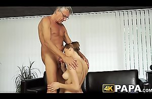 Young belle cheats boyfriend with mature weasel..