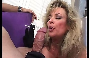 Sexy blonde mature smokes plus sucks cock