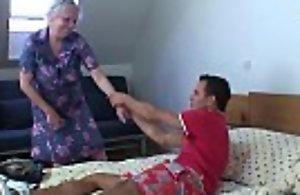 Blonde old granny is doggy style fucked