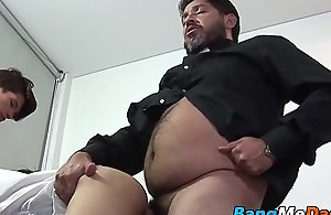 Queasy mature man has raw making out threesome..