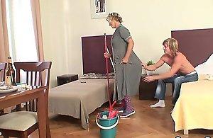 Cleaning mature unsubtle rides his..