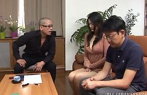 Sexy adult Risa Murakami sucks two guys off for..