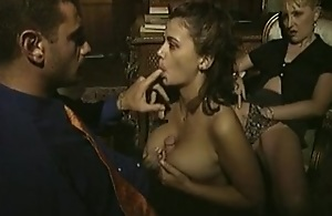 Vintage porno mistiness with threesome..