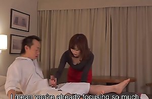 Subtitled cfnm japanese motel mummy rub down..