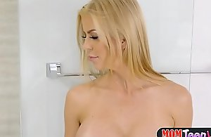 Teen makes large melons milf snatch..
