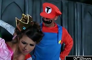 Brunette screwed by two mario bros