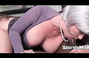 Sexy MILF seduces black board