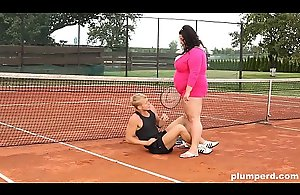 Obese woman facesits on her trainer at..
