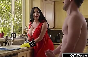 Obese breasty stepmom's cum cleaning -..