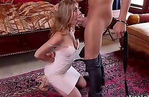 Teen lesbo rims breasty milf in bondage