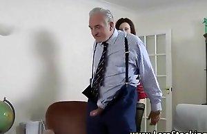 Sexy schoolgirl fucked by 2 old men