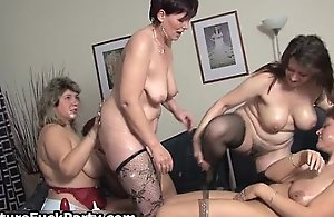 Five despondent moms in sultry underclothes having