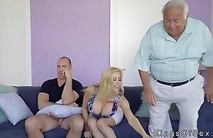 Giving scoops stepmom helps dude with..