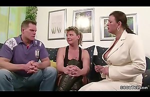 Four German Big Titty MILFs suprise his Husband..