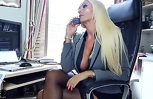 Blonde office boss bloomers nylons..