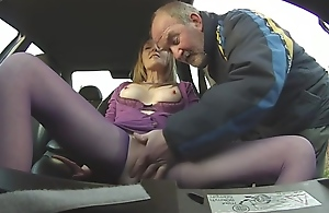 Lovemaking with mature in car