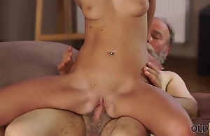 OLD4K. Middle-aged teacher and pupil try..