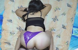 Mom was lying in a thong and stepson saw her ass..