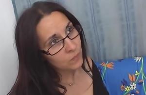 Mature brunette with glasses together..