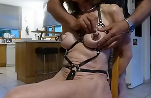 slave equipped with harness and..