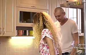 DADDY4K. Curly-haired babe and mature man try..