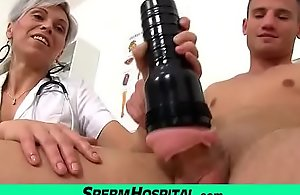 MILF boy handjob feat. Czech MILF nurse Beate