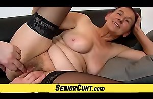 Old lanuginose cum-hole transform into of Granny..