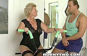Horny granny bitch shamelessly takes gym teacher..