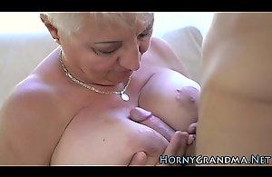 Fat grandmother riding