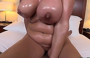 Oiled Up Fair-haired Mam POV Big Tit Slut Bore..