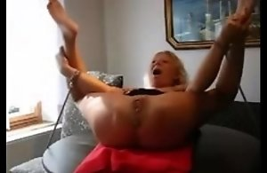 Mature thrall betrothed to a table and fisted