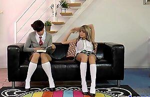 Mature omnibus yon schoolgirls in..