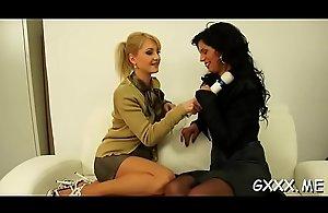 Mature lesbian gets her sweet snatch..