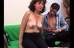 Brunette Hairy Pussy Mature Day-bed Fucked Young..