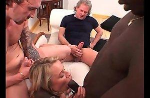 Powered mature blonde slut deep-throats huge..
