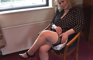 Huge pair mature lassie hither slip and nylons