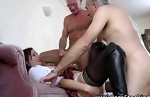 Adult stockings schoolgirl takes old..